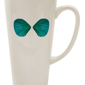 Mermaid Shell Bra Blue 16 Ounce Conical Latte Coffee Mug by TooLoud