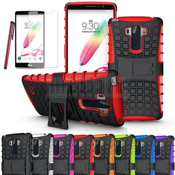 Stand Case Rugged Hybrid Armor Hard Impact Case Cover+ Film +Stylus For LG G Stylo LS770 G4 STYLUS/ G4 NOTE