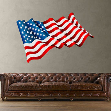 kcik1282 Full Color Wall decal US flag bedroom living room