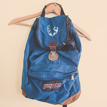 Vintage 90's Backpack  turquoise  with leather bottom Zipper Back Pack with Leather Cover RuckSack Hiking Seattle Style Portland Style