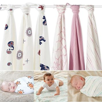 Hot Sell Aden Anais Muslin Baby Blanket Bamboo Fiber Newborn Bath Travel Towel Swaddle Wrap  Multifunctional Quilt 120CM*120CM