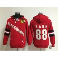 Red s Hockey Hoodies #88 Blackhawks Patrick Kane Hockey Sweater  Style Hockey Sports Jacket  Pullover Female Hockey Uniform