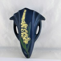 Roseville Foxglove Wall Pocket Reproduction Deep Blue White Green Arts and Crafts Floral Design Pottery Wall Sconce 1292 - 8