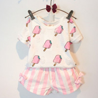 Kids Girls Clothing Set Summer Style Kids Girl Clothes Cute Ice Cream Hole T shirt +Striped Bow Short Suit 2 pcs Clothing-in Clothing Sets from Mother & Kids on Aliexpress.com | Alibaba Group