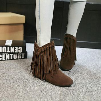 Boots High Quality Flock Tassel Boots for Woman Ladies Casual Flat Shoes