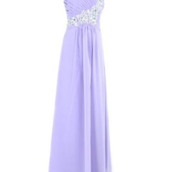 Moonar One Shoulder Beads Prom Gowns Gorgeous Evening Dress Party Gowns (US4=UK8, Purple)