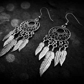 Dream Catcher Earrings  Mini 10 feathered by ChezlyXsane on Etsy