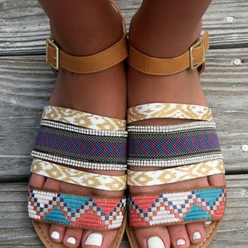 Sizzling Style Multi Color Aztec Print Flat Camel Sandals