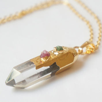 Natural Faceted Phantom Crystal Quartz and Tourmaline Pendant Necklace OOAK - PQN06
