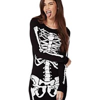 1pcs Lady Womens Punk Halloween Bodycon Skeleton Skull Print Party Club Dress