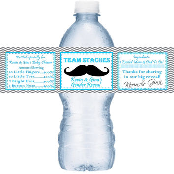 Team Stache Baby Shower Personalized Water Bottle Labels