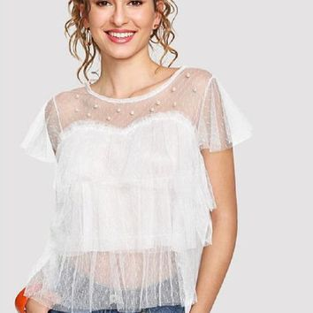 Jade Romantic Faux Pearl Top