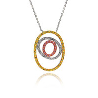 .925 Sterling Silver Open Double Circle Necklace