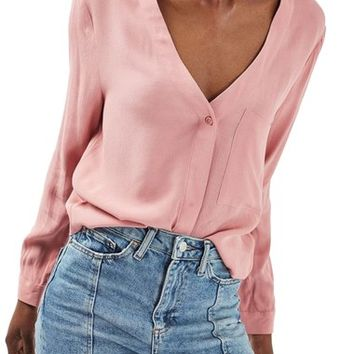 Topshop Crop Slouch Pocket Blouse | Nordstrom