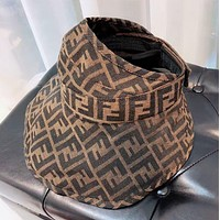 Fendi New fashion more letter women hollow cap hat Coffee