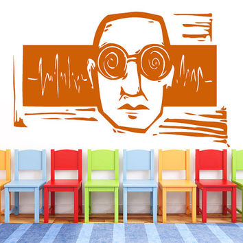 Man With Glasses And Sound Waves Vinyl Decals Wall Sticker Art Design Kids Children Nursery Room Nice Picture Home Decor Interior ki452