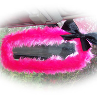 Hot barbie pink cute faux fur furry fluffy fuzzy rear view interior car mirror cover with black satin bow girly girl cerise bright
