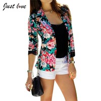 Women Candy Color Blazer Plus Size S-XL Casual Women One Button Jacket Slim Casual Business Blazer Suit Floral Coat Outwear