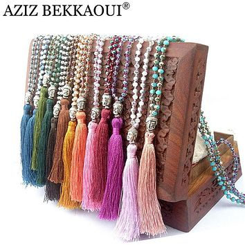 Exclusive Quality Colorful Beads Tassel Bohemian Style Necklaces Buddha necklaces & pendants Long Vintge Women Chain Necklace