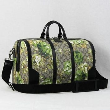 GUCCI Blooms GG Supreme 2 Way Bag Boston Hand Shoulder Purse Floral Unisex Auth