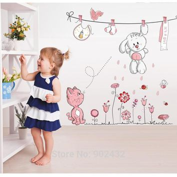 Pink Cartoon Cat Rabbit Flower Wall Sticker For Baby Girls Kids Part 64
