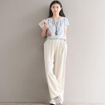 Women Summer Loose Elastic Waist Pants 2017 High Quality Large size Cotton and Linen Trousers Female Casual New Slim-type Pants