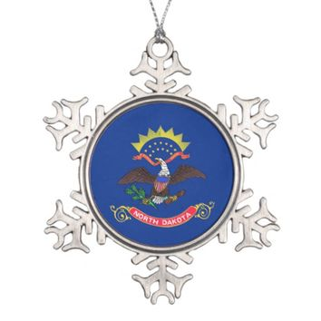 Snowflake Ornament with North Dakota Flag