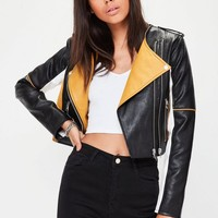 Missguided - Black Motor Cross Biker Jacket