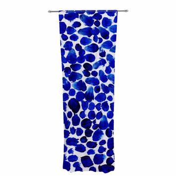 "Danii Pollehn ""Indigo Dots"" Blue White Painting Decorative Sheer Curtain"