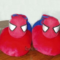 Licensed cool NEW Marvel Spiderman Spider Man Web Plush Toddler SLIPPERS HOUSE Shoes S 5/6 RED