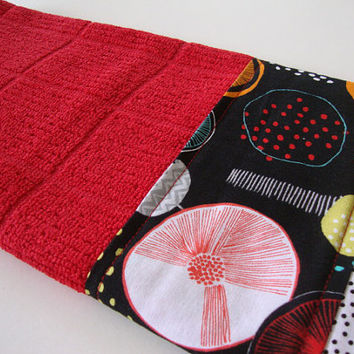Decorative Kitchen Towel - Fabric Trimmed Hand Towel - Tea Towel - Bath Hand Towel - Embellished Towel - Red Black Towel