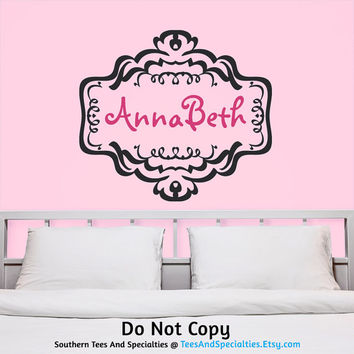 Personalized Vinyl Wall Decal Sticker Monogram Name Lettering Feminine Calligraphy Damask Floral Border Deco Cute Stylish