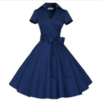 Restores ancient ways dress Full-skirted dress blue