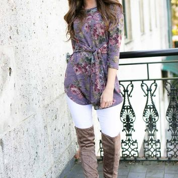 Lola Tie Waist Floral Tunic in Mauve