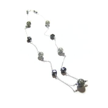 Murano Glass Black Bead Sterling Silver Chain Necklace, Venetian Glass Jewelry