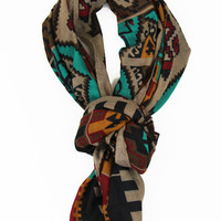 Aztec Craze Scarf in Beige