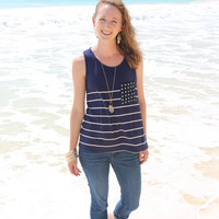 Polka Dot Pocket Tank in Navy - Last Chance Item!