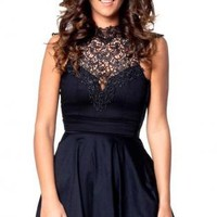 Black Sleeveless Dress with High Crochet Neckline