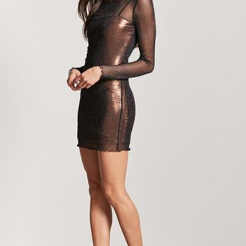Sheer Metallic Knit Dress