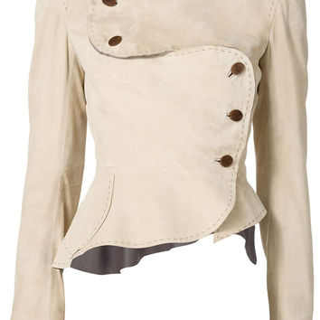Suede Army Jacket in Beige