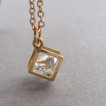 Gold boxed crystal necklace, gold filled chain, sparkling diamond cut cubic zirconia crystal, tiny cube, modern minimalist jewelry