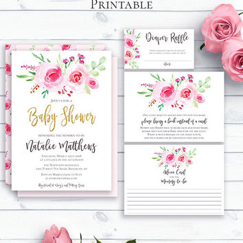 Baby Shower Invite Set, Printable Shower Invitation Template, Watercolour, Glitter Baby Shower, Advice Cards, Bring a Book, Diaper Raffle