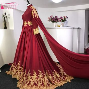 Long Sleeves Burgundy Red Gold Lace Court Train Arabic Wedding Dresses Muslim Wedding Bride Gown With Veil Real Photos
