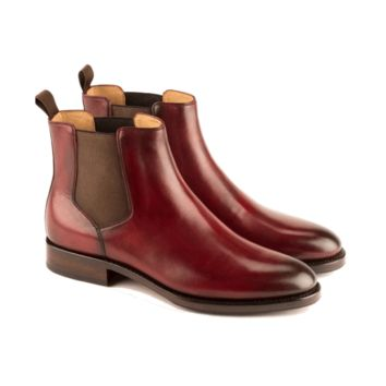 Italo - Chelsea Boot In Burgundy Calf Leather