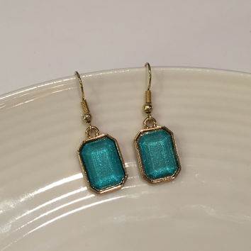 Turquoise Earrings, Sparkle Earrings, Turquoise Stone Earrings, Statement Earrings, Charm Earrings, Gift for Her, Cinderella Earrings
