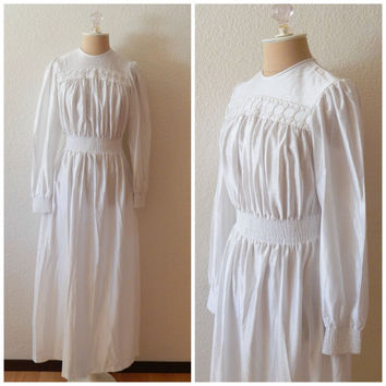 Vintage 70s Boho Bride Mod Wedding Dress Shimmer Semi Sheer Circle Lace XS