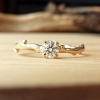 4mm Prong Set Diamond Branch Ring