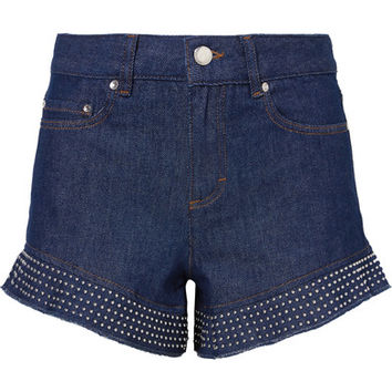 REDValentino - Studed ruffled denim shorts