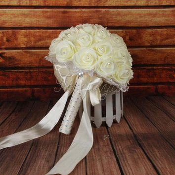 Bridal Bouquet Artificial Foam Rose Flowers Wedding Bouquet with Pearls Rhinestone Lace Satin Ribbons Bow Party Favor Supplies