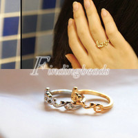 Fashion Sweet Valentine's Day Gift Love Word Ring Gold/Silver Choose Wholesale